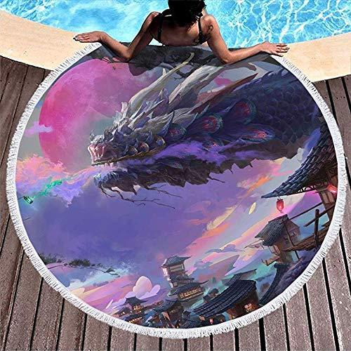 XZ-Sky Kitsune Fox Dragon Hechizo para Dormir Luna roja Obra de Secado rápido Toalla de Playa Redonda Toalla de Descanso Junto a la Piscina de Vacaciones