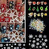 Butterme 12 fogli decorazione del merletto di albero di Natale fiocco di neve arte del chiodo della decalcomania di Natale fai da te chiodo arte