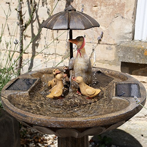 Smart Garden Solar Duck Family Umbrella Garden Water Feature Fountain Bird Bath
