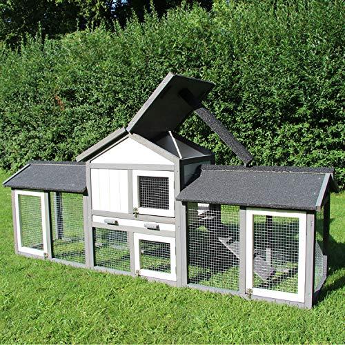 zoo-xxl Kaninchenstall Picasso Hasenstall Hasenhaus Kleintierstall - Grau/Weiß