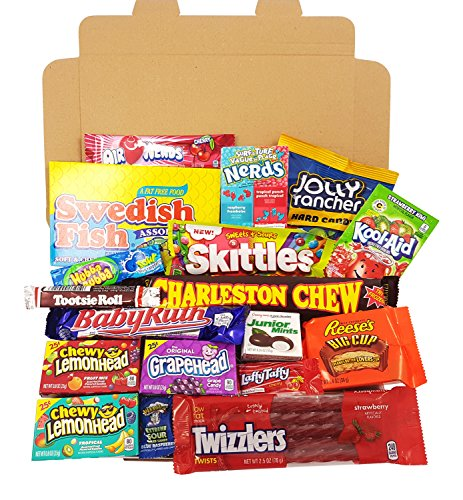 American Candy Box Hamper | Retro Sweets and Chocolate Bar Gift Box Selection | Assortment includes Chupa Chups, Reeses, Skittles, Nerds, Hersheys | Value ...