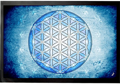 Mandalas - La Flor De La Vida, Elemento Agua Felpudo Alfombrilla (60 x 40cm)