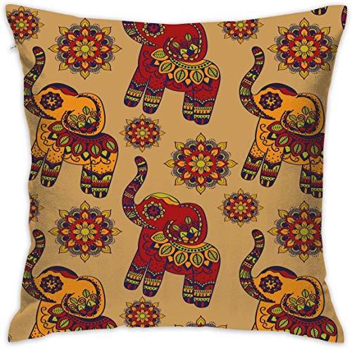 shizh Fodera per Cuscino Decorativo Quadrato con Motivo Floreale Elefante thailandese per Divano...