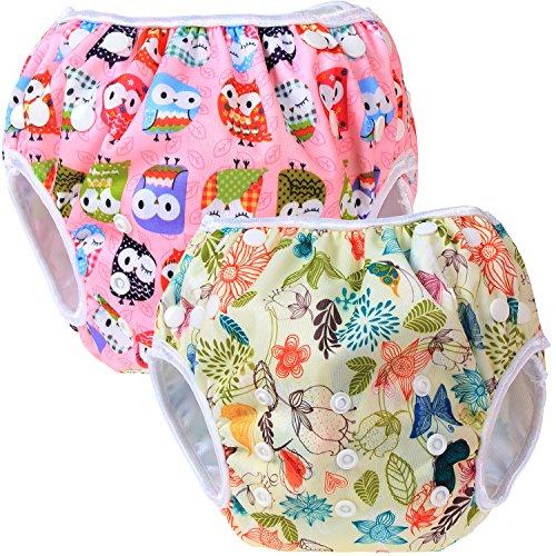 Teamoy 2pcs Baby Nappy riutilizzabile pannolino da nuoto, Jungle+ Owls Pink