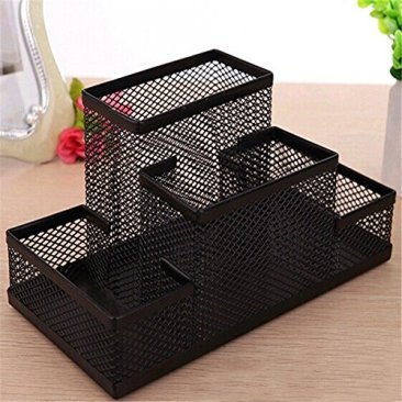 Almand New Arrival Multifuction Black Cube Metal Book Stand Mesh Style Desk Tidy Pencil Metal Pen Holder Office Home Supplies Gift 5