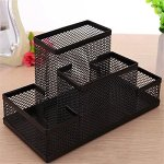 Almand New Arrival Multifuction Black Cube Metal Book Stand Mesh Style Desk Tidy Pencil Metal Pen Holder Office Home Supplies Gift 19