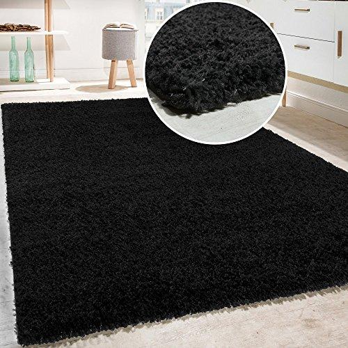 Shaggy - Tappeto A Pelo Lungo in Diversi Colori E Misure, Dimensione:140x200 cm, Colore:Schwarz