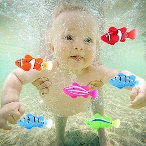 Happt Bebé Niños Juguete De Bañera Pescado con Flash Eléctrico Y Inducción De La Máquina Pez Payaso para Bebés Juguetes De Agua Professional
