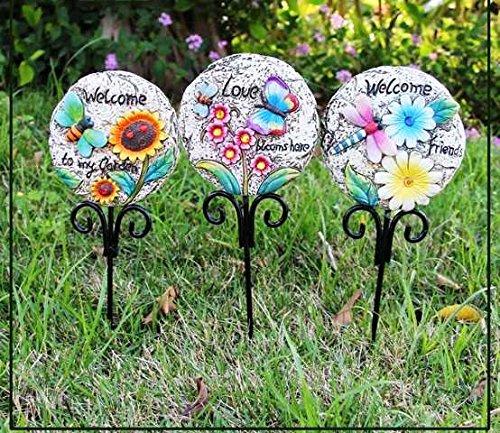 Wonderland Garden Stone Stick Decoration -Set of 3