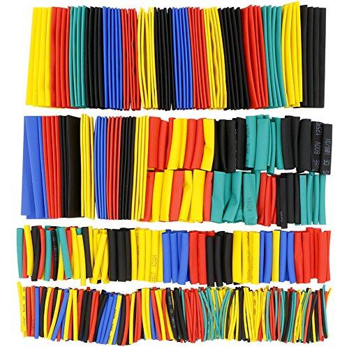 656 pezzi Guaine Termorestringenti, Rusee Tubo Termorestringente Per Cavi Elettrici Tubo Termoretraibile Heat Shrink Car Electrical Wire Tubing 5 Colori 8 Taglia