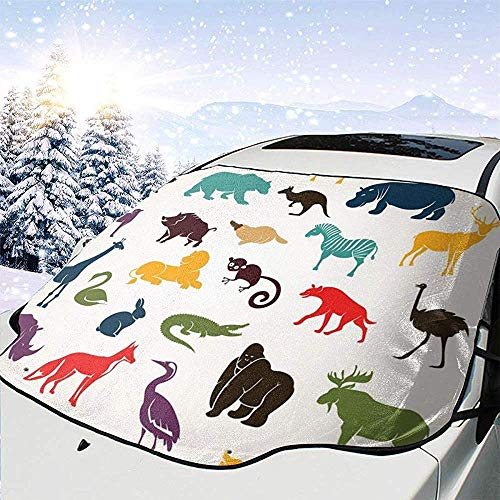 Tridge Siluette Animali africane ed Europee nello Stile del Fumetto Safari Wildlife Zoo Theme Car Front Parabrezza Cover Parasole Pieghevole