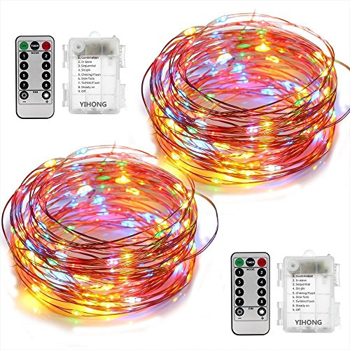 YIHONG 2 pacchi luci a Batteria Filo di Rame 5 m 50 LED luci Decorative di Fata con Telecomando Timer per Albero di Natale Wedding Festival Party Camera da Letto Decorazione di Interni-Multicolore