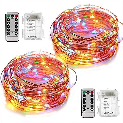 YIHONG 2 pacchi luci a Batteria Filo di Rame 5 m 50 LED luci Decorative di Fata con Telecomando...