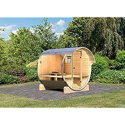Karibu Fass - Sauna 1 42 mm inkl. 9-kW-Bioofen - Saunahaus