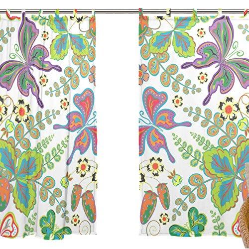 jstel 2pcs Voile cortina de ventana, Ethnic Art diseño de mariposas, tul pura cortina Drape cama 55x 78(dos paneles Set
