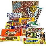 Amerikanische Schokolade Geschenkkorb | Auswahl beinhaltet Reeses, Hershey, Butterfinger, Baby Ruth | 18 Produkte in einer tollen retro Geschenkebox | American Candy