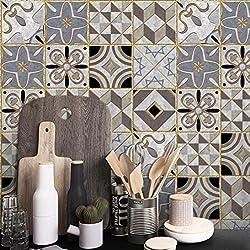 STRIR Adhesivo para azulejos 500cm x 20 cm - Adhesivo decorativo para azulejos para baño y cocina - Stickers azulejos - Collage de azulejos - Estilo europeo tradicional (A)
