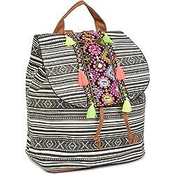 styleBREAKER Mochila con Motivo de Estilo étnico y Bordados, Perlas y borlas en la Solapa, Bolso, señora 02012246, Color:Negro-Blanco