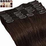 S-noilite Extensiones de clip de pelo natural cabello humano #02 Marron oscuro - DOUBLE WEFT muy...