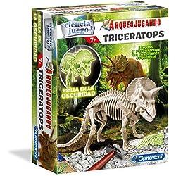 Ciencia y Juego Arqueo Jugando Triceratops Fluorescente, (Clementoni 550319)