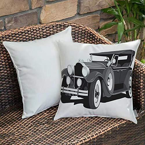 Poliestere morbidoFodera per Cuscino,Automobili, Old Timer American Black Car Classica Urban Travel...