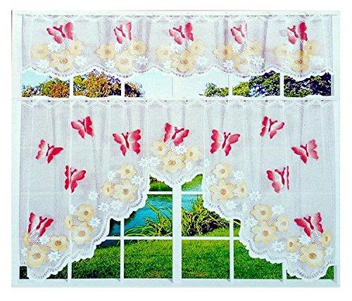 Gardinenbox antipinchazos AUX de 2piezas 80y 30x 150cm Bistro cortina cortina diseño de mariposas