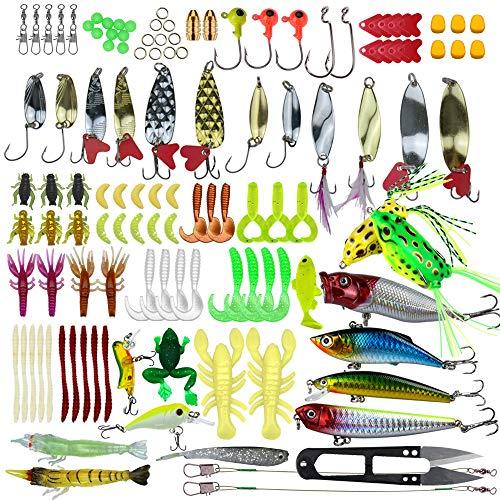Pitaya 235Pieces Kit Esche da Pesca Universal Assorted Esche da Pesca Tackle Box tra Le Esche Crank Esche Spinner Soft Plastic Worm Esche da Pesca Maschere Ami da Pesca