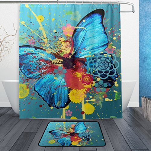 jstel acuarela mariposa 3piezas Set de baño, se puede lavar a máquina. Para uso diario, incluye 60x 72inch impermeable cortina de ducha, 12ganchos de ducha y 1alfombrilla de baño antideslizante alfombra–juego de 3