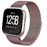 Cinturino Fitbit Versa,Pugo top milanese loop magnete in acciaio inossidabile Cinturino Band per Fitbit versa Smartwatch