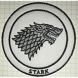 Juego de Tronos Casa Stark Direwolf gamuza de bordado iron on patch