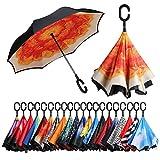 Eono by Amazon - Parapluie Inversé, Anti-UV Double Couche Coupe-Vent Parapluie, Parapluie Résistant au Vent, Parapluie Pliant pour Voitures, Mains Libres Poignée en Forme C Parapluie, Fleur Oranger