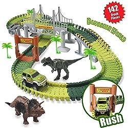 ACTRINIC Pista de Carreras Juguetes de Dinosaurios Mundo Jurásico 142 Pistas Flexibles Que Incluyen 2 Dinosaurios 1 Vehículo Militar 4 �rboles 2 Pendientes 1 Puerta Doble y 1 Puente Colgante Infantil