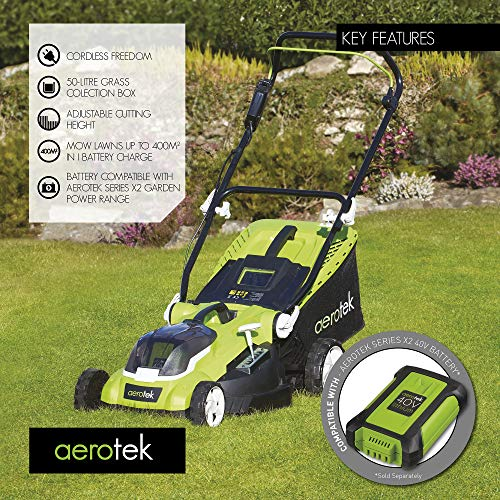 This Aerotek 40v X2 Cordless Lawnmower is ideal for smaller and medium sized lawns up to 400sq.m.