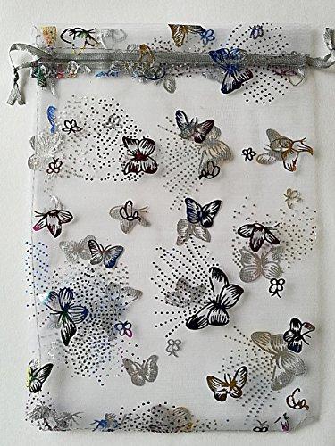 Lote de 100bolsas/Fundas en Organza–diseño mariposa–couelur: blanco–9x 12cm