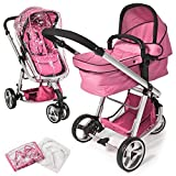 TecTake 3 en 1 Sillas de paseo coches carritos para bebes convertible - disponible en diferentes colores - (Rosa | no. 400831)