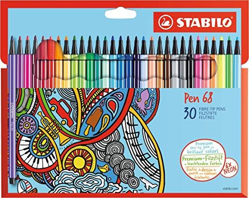 Stabilo 6830-7 Pen 68 Astuccio in Cartone da 30 Pezzi