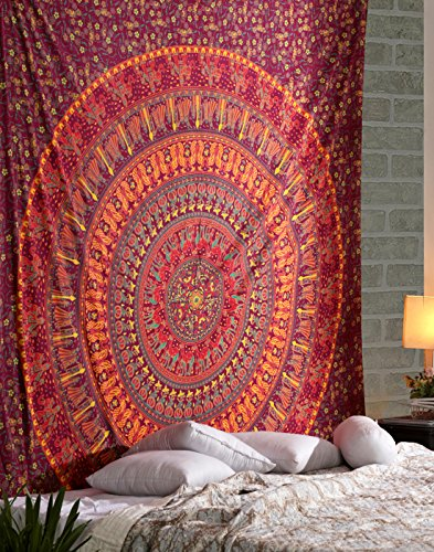 RAJRANG Hippie Mandala Tapestry Indiano Arancia Rosa tappezzerie Boemo Arredamento arazzo