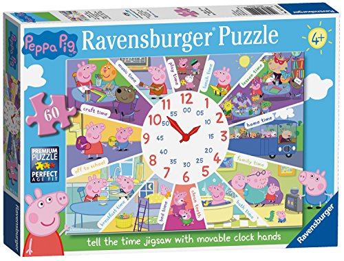Ravensburger Peppa Pig – Tell The Time Clock puzzle, 60PC Jigsaw puzzle