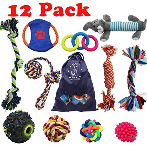Forwindog 12pezzi Chew Dog Toys indistruttibile set giocattoli Squeaky Ropes Puppy dentizione per...