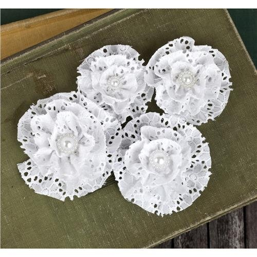 """Pageant Fabric Lace Flowers With Bead Middle 2.5"""" To 3"""" 4/Pk-White"""
