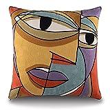 Topfinel-Copriletto decorativo in cotone 100% , federe per cuscini-Fodera per cuscino ricamata con Design creativo, Picasso, 45 x 45 cm KD011B