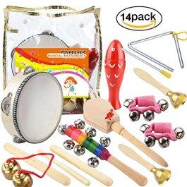 14pezzi Strumenti musicali per bambini Strumenti a percussione Set principale con borsa per il trasp