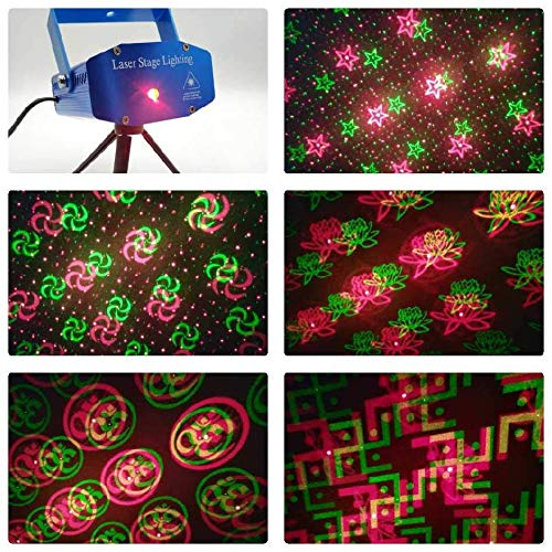 Mini Laser Projector Stage Lighting Sound Activated Laser Light for Party and DJ String