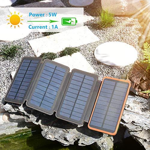 Hiluckey Chargeur Solaire 25000mAh Portable Power Bank avec Deux 2.1A Ports Imperméable Power Bank avec Lampe LED Batterie Externe pour iPho... 23