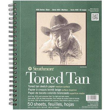 Strathmore 400Series Toned Tan. Bloc de dibujo, con espiral de 22,86cm x 30,48cm, 50hojas