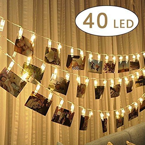 Ghirlanda di luci LED con mollette per appendere foto – 40 mollettine per foto, decorazione lunga...