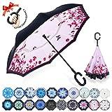 ZOMAKE Parapluie Inversé,Parapluie Canne,Double Couche Coupe-Vent, Mains Libres poignée en Forme C, Idéal pour Voiture et Voyage (Papillon)