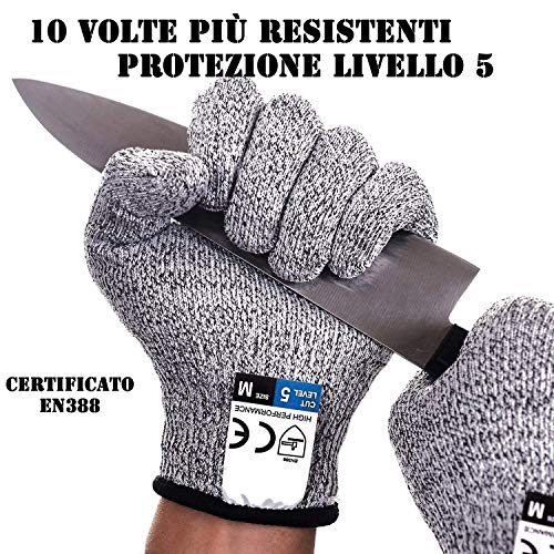 Guanti Antitaglio, Guanti da Lavoro, protezione livello 5, Guanti da cucina resistenti al taglio,...