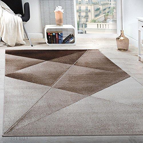 Paco Home Tappeto di Design Moderno Motivo Geometrico Corto Marrone Beige Bianco mélange,...