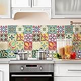 72 (Piezas) Adhesivo para Azulejos 10x10 cm - PS00049 - Valencia - Adhesivo Decorativo para Azulejos para baño y Cocina - Stickers Azulejos - Collage de Azulejos